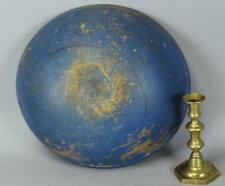 GREAT EARLY 19TH C TURNED WOODEN BOWL IN MAPLE IN WONDERFUL ORIGINAL BLUE PAINT