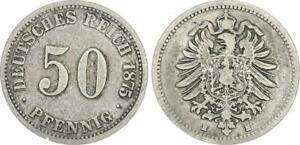 Imperio 50 Peniques 1875H Raro Mzz. MBC / S-Ss (45218)