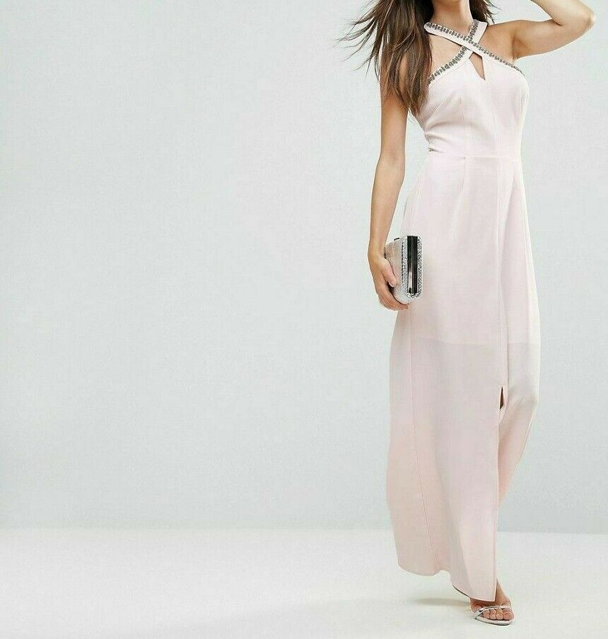 Warehouse Embellished Halter Neck Maxi Dress Rosa Größe rrp  DH095 AA 06
