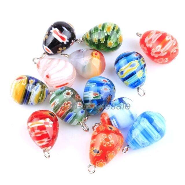 Wholesale 30pcs Millefiori Glass Tear Drop Pendants Charms For Earring Necklace