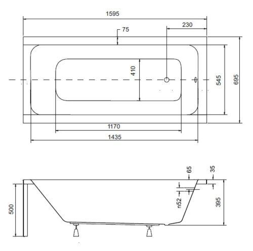Bathtub Tub Rectangle Rectangular 160 x 70 cm Feet Drain Silicone Acrylic PMD