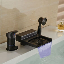 LED Colors Oil Rubbed Bronze Waterfall Bathtub Faucet W/Hand Shower Mixer Tap