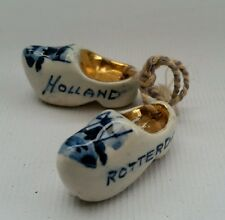 Vtg Small Pair Of Blue & White Gold Dutch Delft China Ornamental Clogs Holland
