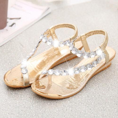 Women/'s Boho Flat Gladiator Thong Sandals T Strap Summer Beach Shoes Flip Flop A