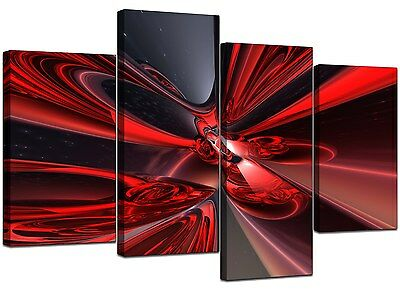 Large Red Abstract Canvas Wall Art Pictures 130cm Wide Prints XL 4006