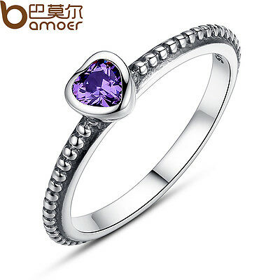 Luxury 925 Sterling Silver Purple Heart Ring Retro European With Crystal Jewelry