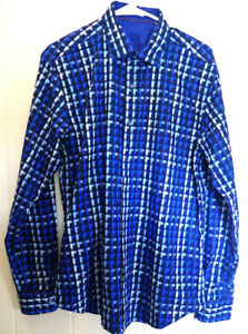 Bugatchi-Uomo-Shaped-Fit-Button-Front-Blue-Plaid-Abstract-Check-Shirt-Size-L