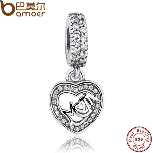 Cozy S925 Sterling Silver Charm avec Cristal Coeur Maman Pendentif Européenne Bracelet