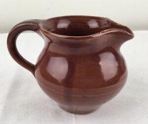 Vtg-Older-Southern-Art-Pottery-Creamer-Pitcher-KY-Bybee-Waco-Maroon-Flea-Bites