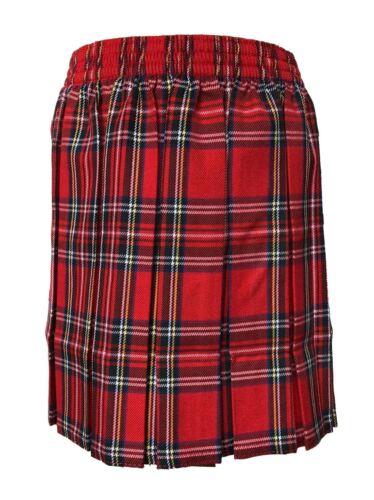 Womens Tartan Print Box Plated Elasticated Skirt Girls Knee Length School Skirt