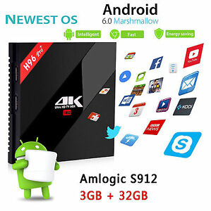 Android 7.1 3GB/32GB H96 PRO+ S912 Octa Core Amlogic 2.4G/5GHz Wifi 4K LAN BT4.1