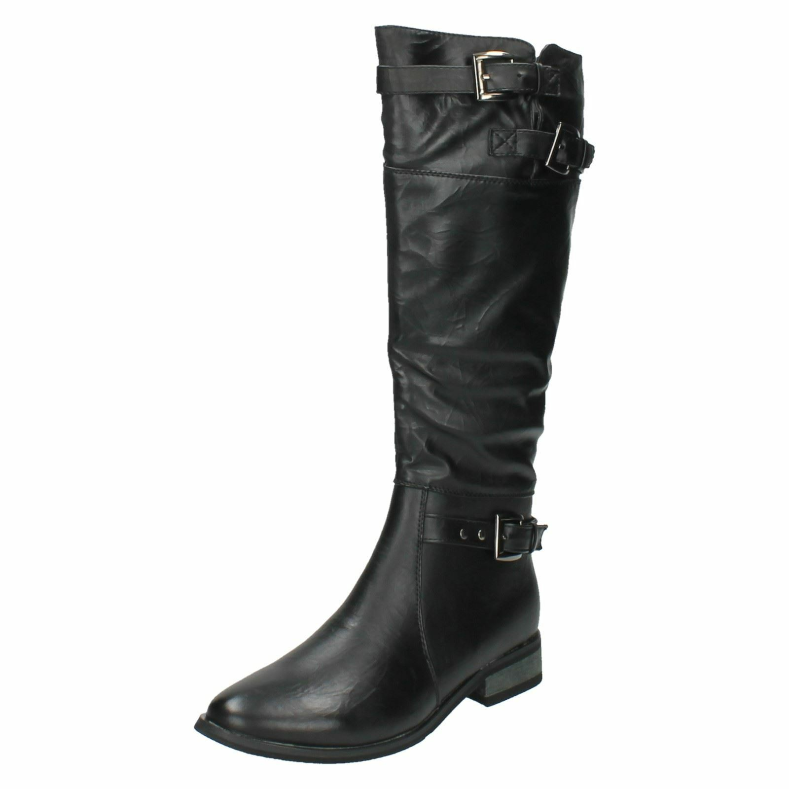 Spot On Ladies High Leg Biker Style Boots