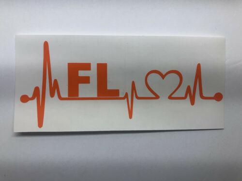"/"" FLORIDA HOME STATE HEARTBEAT LIFELINE/"" VINYL DECAL STICKER CAR TRUCK,"