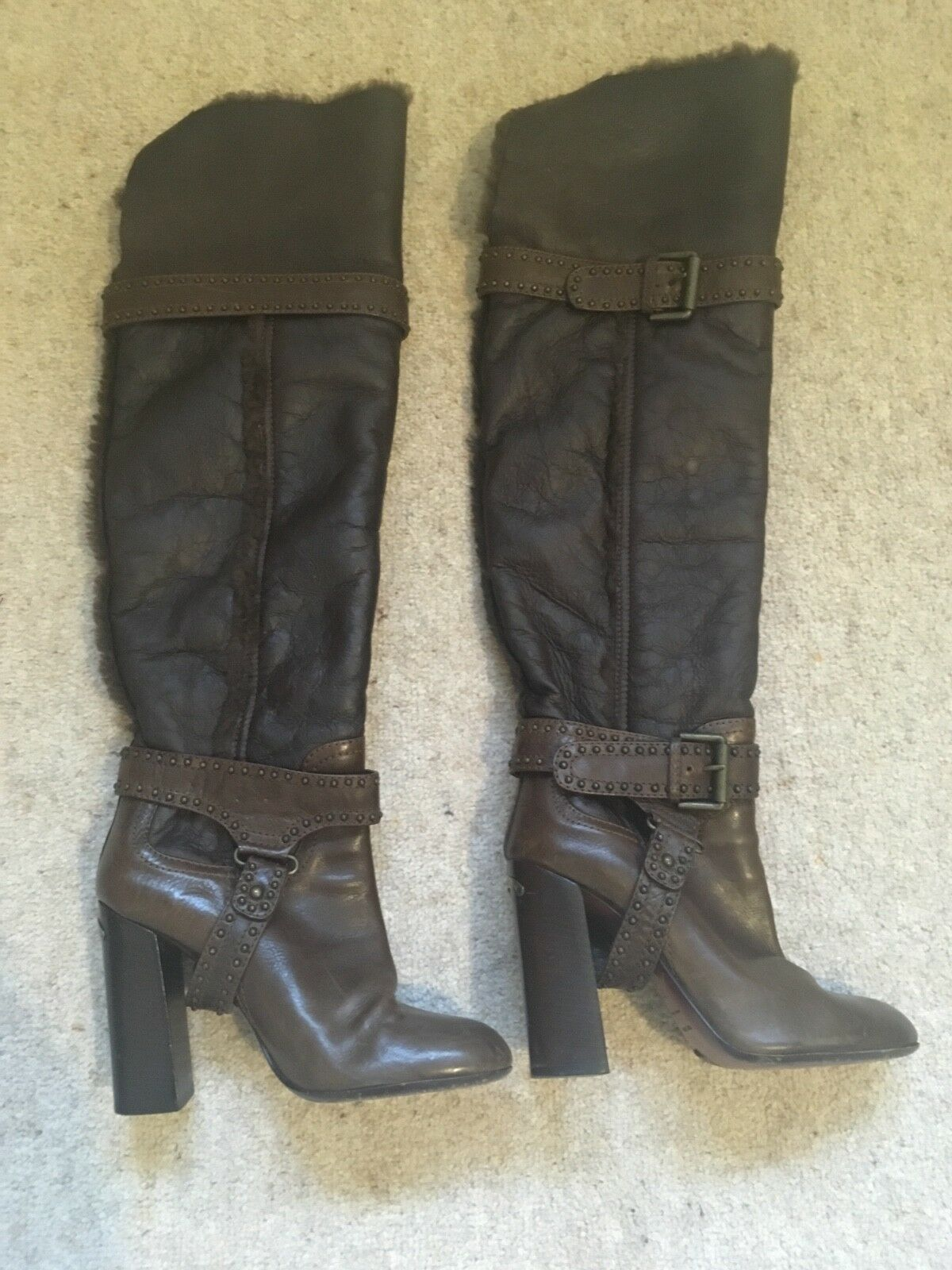 KAREN MILLEN CHOCOLATE BROWN FUR LINED LEATHER OVER THE KNEE BOOTS 4 (37) VGC