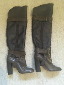 fbba5121374 KAREN MILLEN CHOCOLATE BROWN FUR LINED LEATHER OVER THE KNEE BOOTS 4 ...