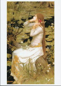 Waterhouse Pre-Raphaelite Arts & Crafts Art Print OPHELIA with Flowers in Hair