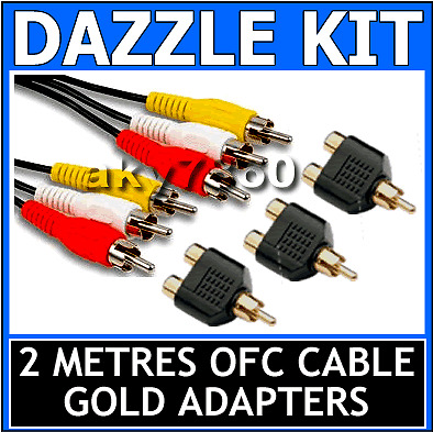 Dazzle Capture EasyCap Card to TV and Xbox 360 PS3 AV Cable & GOLD RCA Adapters