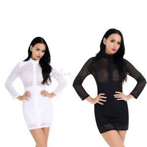 Sexy-Women-Striped-Mesh-Sheer-Bodycon-Pencil-Evening-Clubwear-Party-Mini-Dress