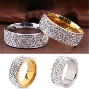 Men-Women-039-s-CZ-Stainless-Steel-Ring-Unisex-Wedding-Band-Rings-Gold-Silver-Sz8-10