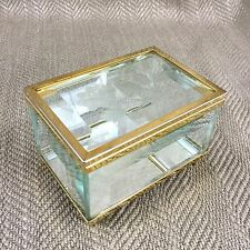Crystal Jewelry Box Antique Italian Venetian Style Etched Glass Mirrored Trinket