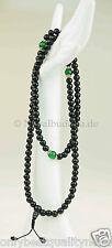 "Black Mala schwarze Kugeln Onyxe ""grüne Jade"" Rosary Gebetskette Nepal 101h"
