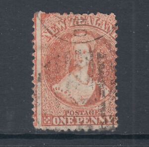 New-Zealand-Sc-31-SG-111-used-1864-71-1p-vermilion-usual-centering-Cert