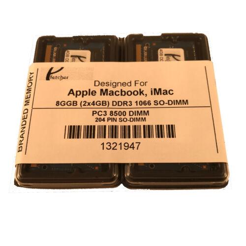 2 X 4GB PC3-8500 MacBook Pro Mid 2010 A1278 MC374LL//A MC375LL//A Memory 8GB KIT