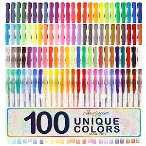 US Art Supply Jewelescent 100 Unique Color Gel Pen Set - Professional Artist ...
