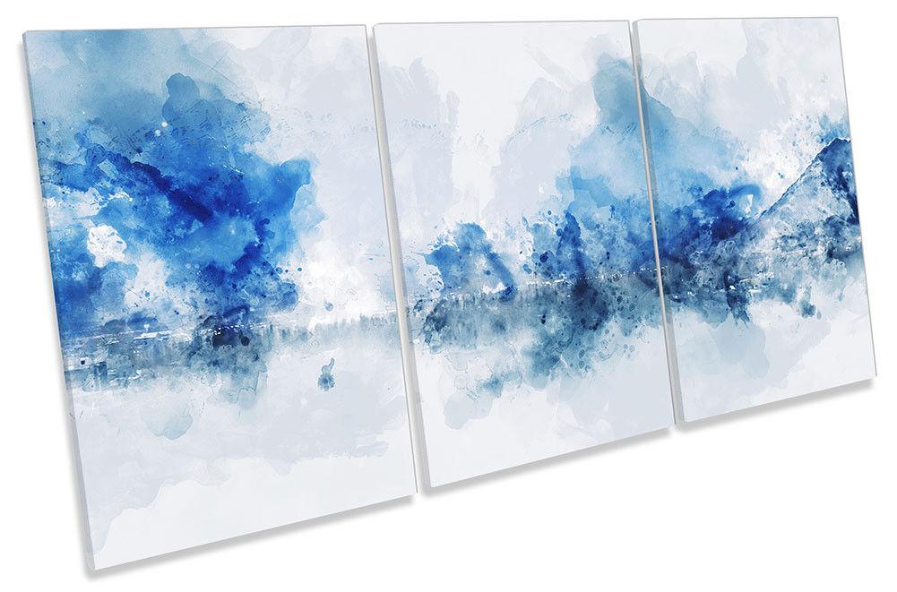 Blau Minimalistic Landscape CANVAS WALL ARTWORK TREBLE Print Art