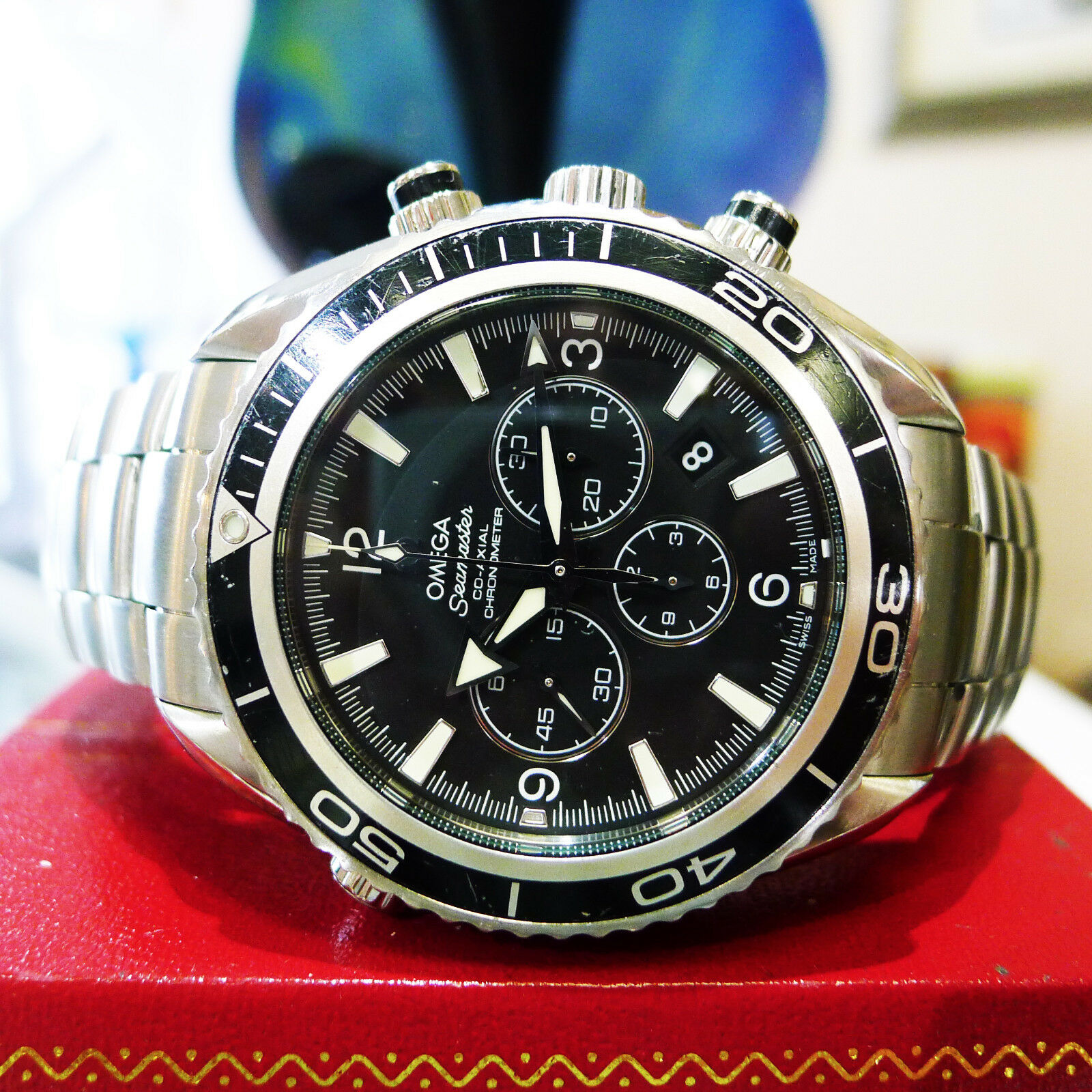 f067c059d7e1 Details about Omega Seamaster Planet Ocean Co-Axial Chronograph Black Dial Men s  Watch
