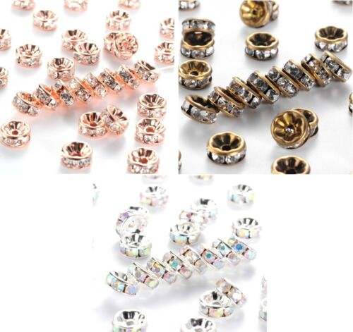8mm x 3.8mm 1.5mm Clear Rhinestone Rondelle Spacer Beads Hole Size