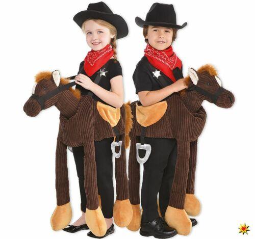 Unisex Kinder Kostüm Tragmich Tier reitendes Pferd Cowboy 3-8 Jahre Fasching