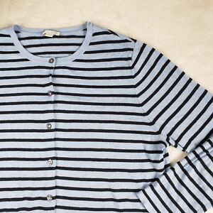 J-JILL-Bamboo-Striped-Sweater-Cardigan-Viscose-V-Neck-Knit-Blue-Sz-Large-EUC