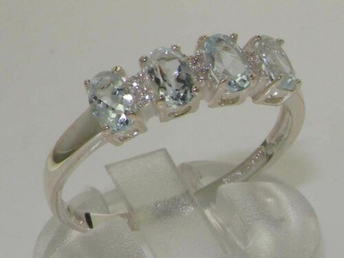 925 STERLING  SILVER FULL UK HALLMARK NATURAL AQUAMARINE /& DIAMOND ETERNITY RING