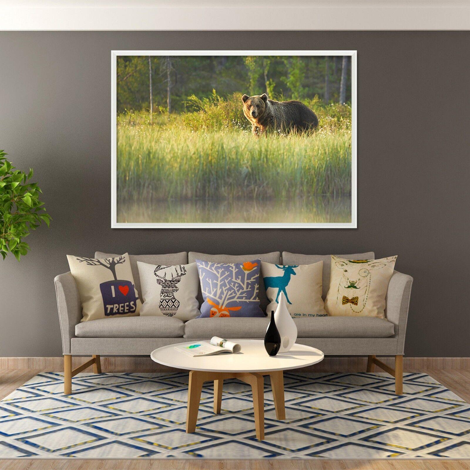 3D Grass Walking Bear 3 Framed Poster Home Decor Print Painting Art AJ WALLPAPER