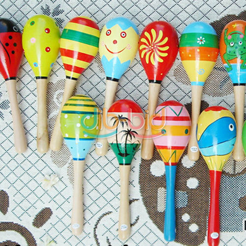 1 Wooden Maraca Rattles Musical Party Favor Kids Baby Shaker Toy Xmas Gift #n