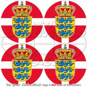 DENMARK-Danmark-Danish-Flag-Coat-of-Arms-Roundels-50mm-Vinyl-Stickers-Decals-x4