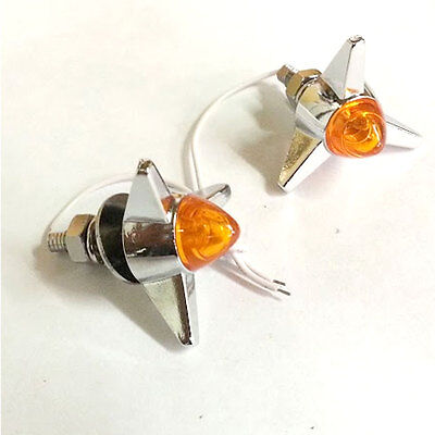 4 Chrome Amber LED Bullet Spike Motorcycle License Plate Frame Lic Tag Bolts