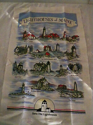 Vtg Tea Towel Linen Dish Cloth Unused New Kay Dee Save the Light Houses of Maine