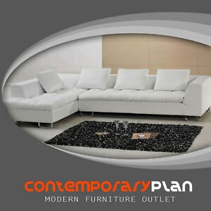 Details about Contemporary White Italian Leather Sectional Sofa - New  Modern Minimalist Design