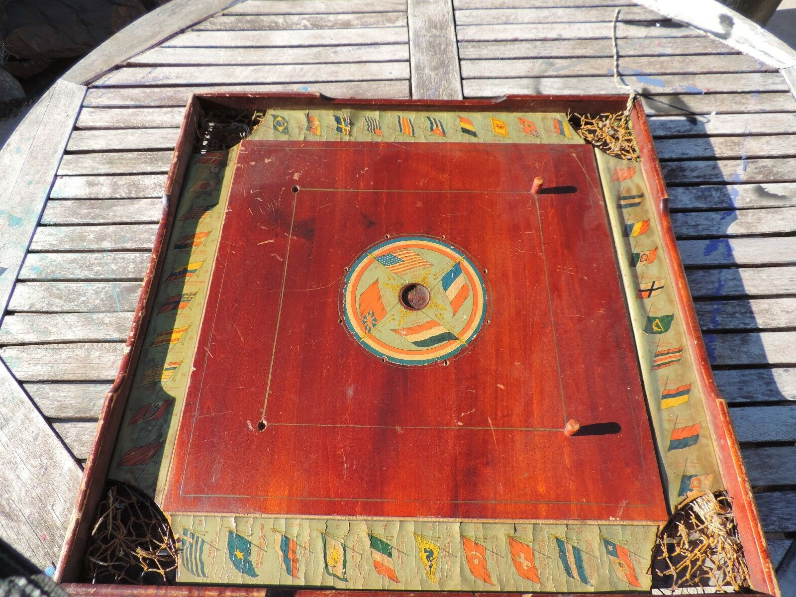 Antique Wood archarena Combinaison Star Game Board Carrom & dames 28  Square