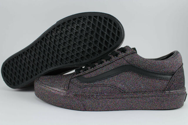 VANS OLD SKOOL RAINBOW GLITTER TRIPLE BLACKMULTI COLOR SPARKLE SKATE WOMEN SIZE