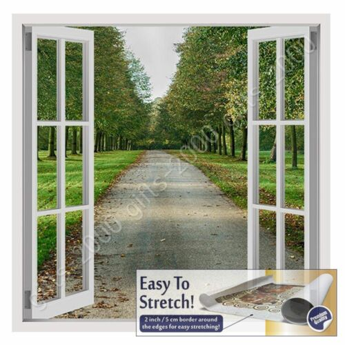 Rolled Wall art picture giclee Scenic Road Path by Fake 3D WindowCanvas