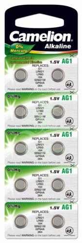 Camelion Knopfzellenbatterie AG1 LR60 LR621 364 10er Pack