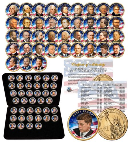 Complete Set U.S COLORIZED 1-SIDED with BOX PRESIDENTIAL $1 DOLLAR 39 COINS