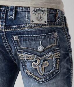 New-Men-039-s-Rock-Revival-Slim-Bootcut-Jeans-Scion-27-28-29-30-31-33