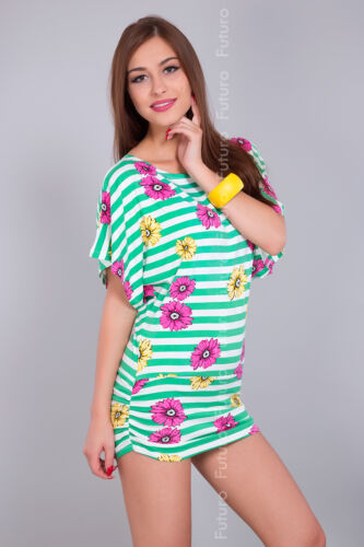 Women/'s Casual Tunic Striped Floral Print Party T-Shirt Batwing Size 8-12 5059