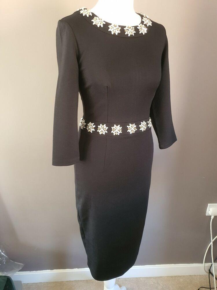 Nouveau 140 £ Boden Taille 8 Noir Bijoux Crayon Matilda Robe Occasion Spéciale