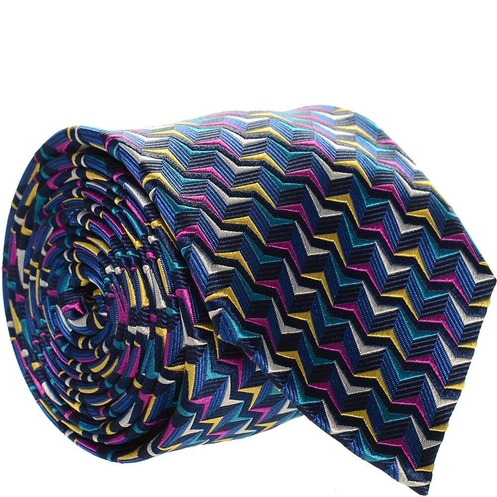 Duchamp Zigzag Seidenkrawatte Neu mit Etikett