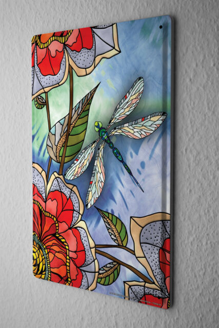 """Tin Sign Vet Practice Dragonfly colorful fantasy flowers Metal Plate 8X12"""""""